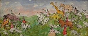 Animals and Napoleons, 1981, intaglio w/ watercolor,  by Chaim Koppelman