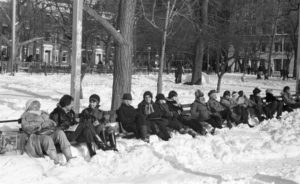 Len Bernstein, People on park bench in snow