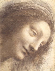 "Leonardo da Vinci, ""Head of the Virgin in Three-Quarter View Facing to the Right"""