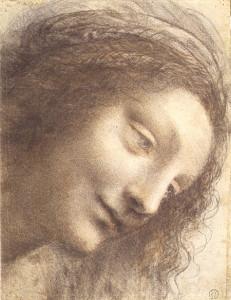 """Leonardo da Vinci, """"Head of the Virgin  in Three-Quarter View Facing to the Right"""""""