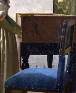 vermeer, virginal and chair ,detail