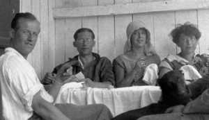 Pierre Jeanneret, Le Corbusier, and Yvonne Gallis with friends