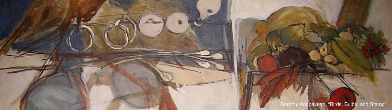 "Dorothy Koppelman, ""Birds, Bulbs, and Stamp"""