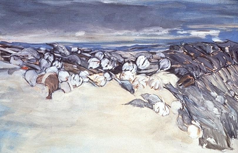 Dorothy Koppelman, Landscape of Rats and Garlic, painting