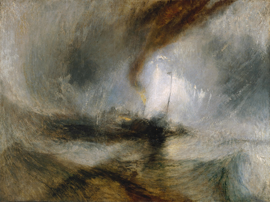 "JMW Turner, ""Snow Storm—Steam-Boat off a Harbour's Mouth ..."""