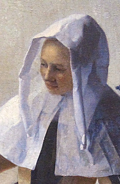 Johannes Vermeer, Young Woman with a Water Pitcher, detail of headdress