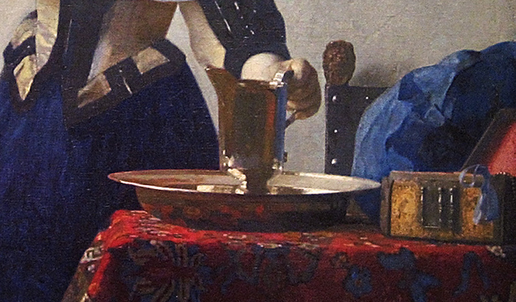 Vermeer, Young Woman with a Water Pitcher, detail of pitcher