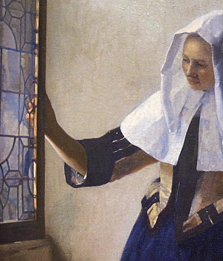 Vermeer, Young Woman with a Water Pitcher, detail of sleeve