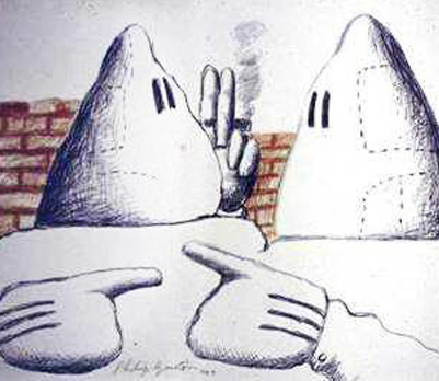 Philip Guston, (two hooded figures)
