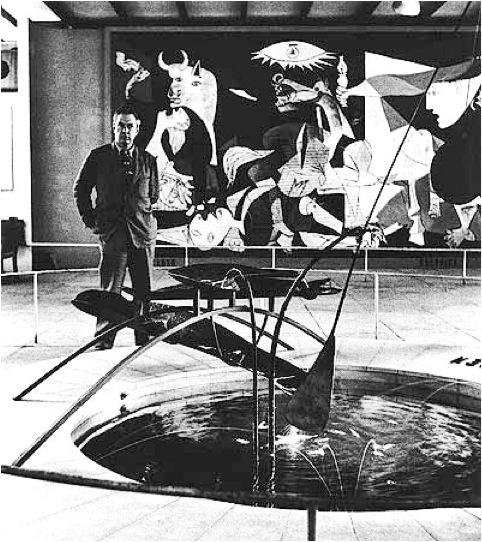 Calder with Mercury Fountain and Picasso's Guernica, 1937
