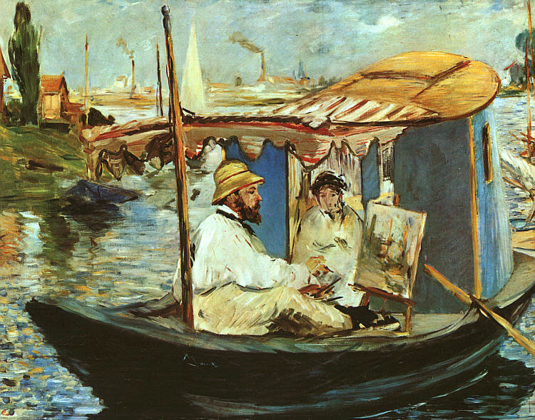 Edouard Manet, Monet Painting in His Studio Boat, 1874