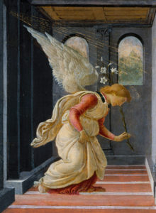 "Botticelli, ""The Annunciation,"" detail of angel"