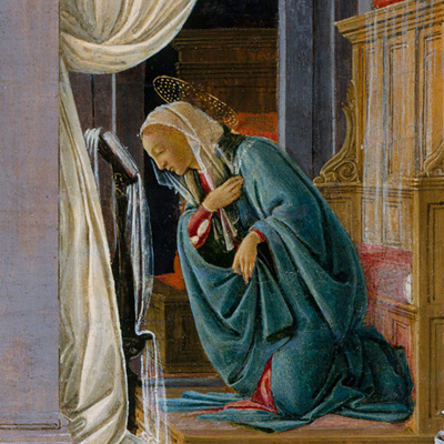 Detail from Botticelli's Annunciation, Mary