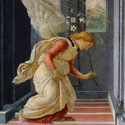 "Botticelli, ""The Annunciation,"" angel"