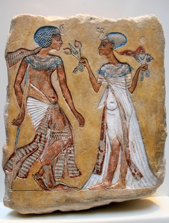 Egyptian Amarna period limestone relief of royal couple, Neues Museum, Berlin