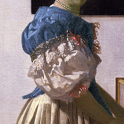 Vermeer, Young Woman Standing at a Virginal, Sleeve detail