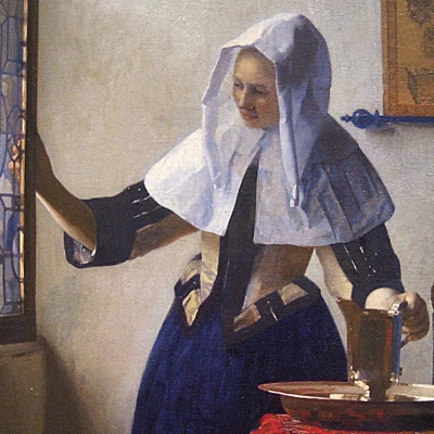 Vermeer, Young Woman with a Water Pitcher, detail