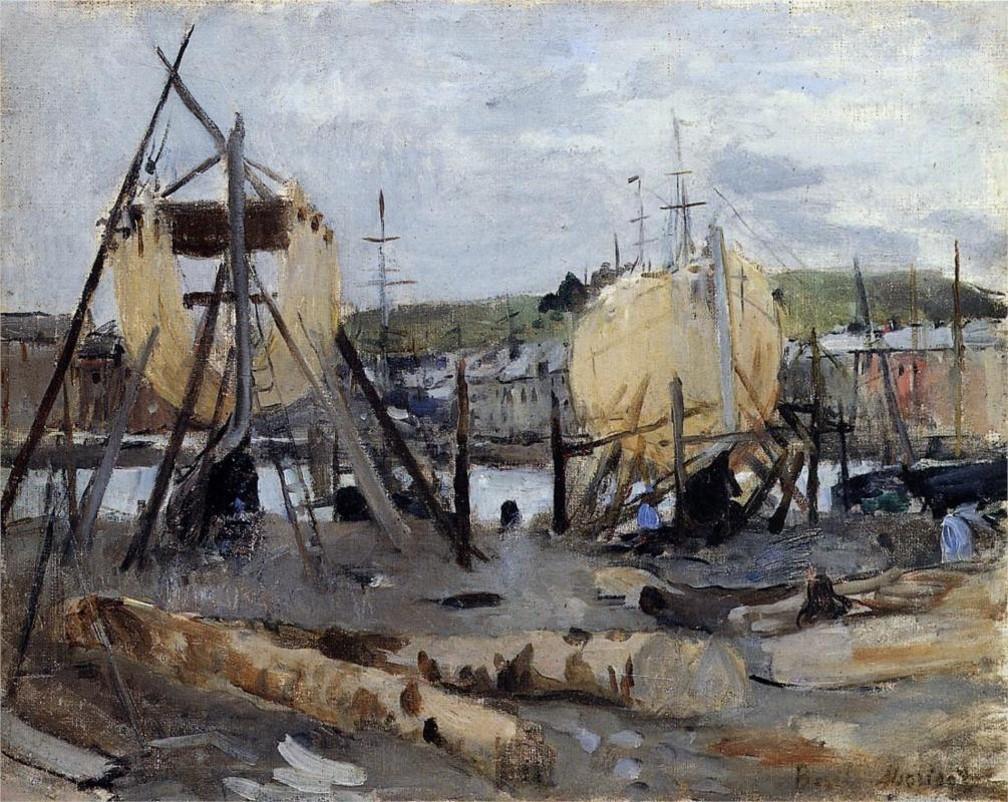 Berthe-Morisot-Boats-under-Construction-1874