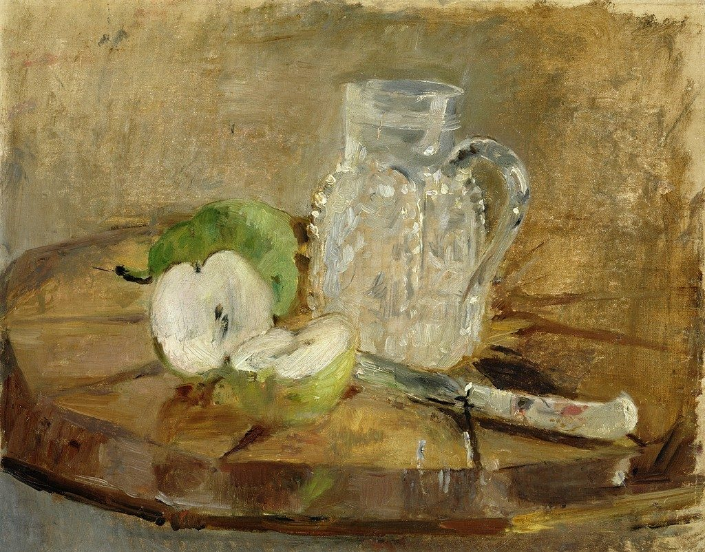 Berthe-Morisot-Still-Life-with-Cut-Apple-and-Pitcher-1876