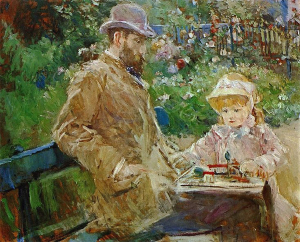 Berthe-Morisot-Eugene-Manet-and-His Daughter-at-Bougival-1881