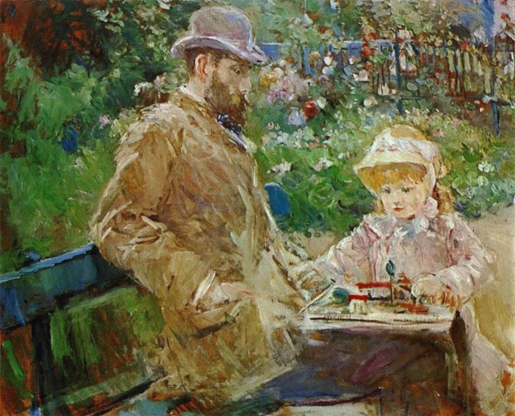 Berthe-Morisot-Eugene-Manet-and-His Daughter-at-Bougival-1881