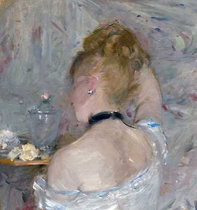 Berthe-Morisot-Woman-at-Her-Toilette-1880, detail head and shoulders