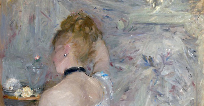 Berthe-Morisot-Woman-at-Her-Toilette-detail head-shoulders-background